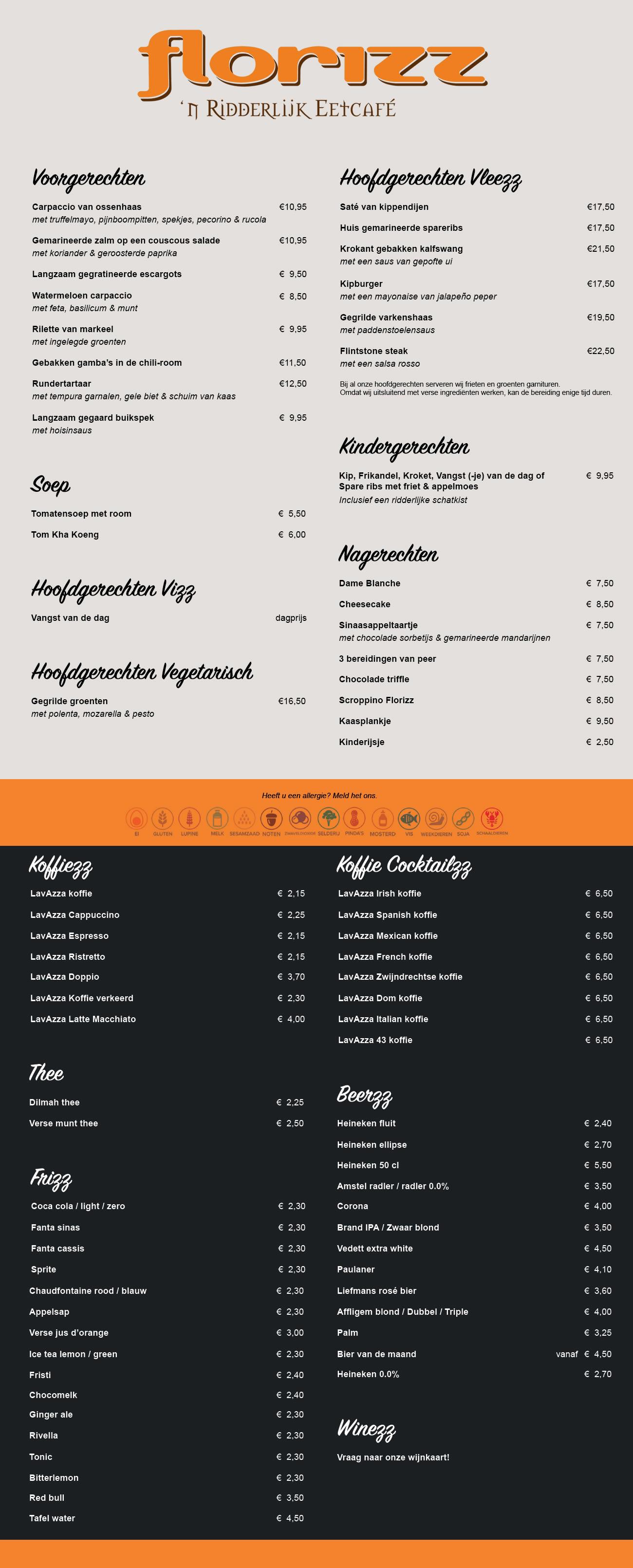 Menukaart restaurant Florizz te Zwijndrecht