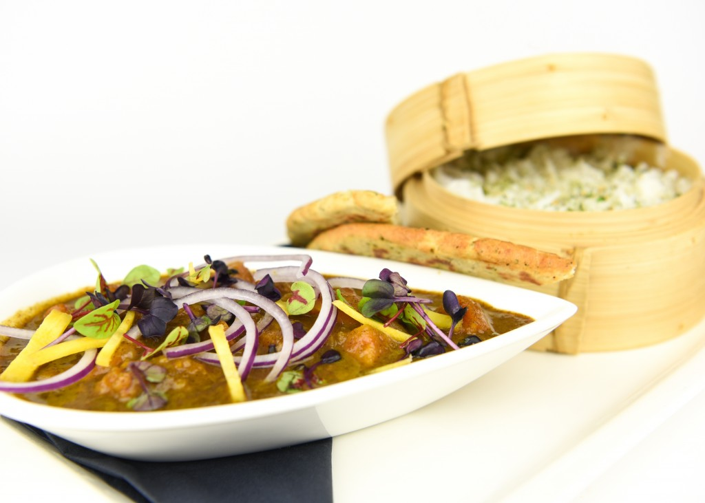 Curry van zoete aardappel met basmati rijst